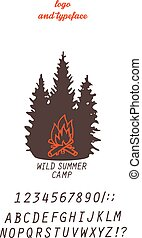 summer camp concept - summer camp logo with stylized bonfire...