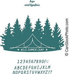summer camp concept - summer camp logo line-art concept with...