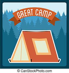 summer camp design over blue backgroun, vector illustration
