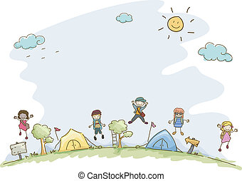 Summer Camp - Illustration Featuring Kids at a Summer Camp