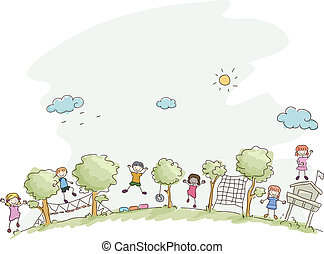 Summer Camp - Illustration Featuring Kids Playing in a...