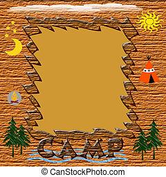 summer camp frame - wooden frame with assorted symbols of...