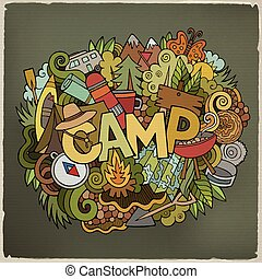 Summer camp hand lettering and doodles elements background -...