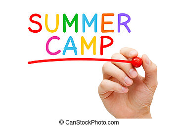 Hand writing Summer Camp with marker on transparent wipe board. Supervised program for children or teenagers during the summer holiday period.