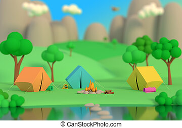 Summer camp in the forest in the afternoon on a background of mountains. Colored tents around the fire. Defocus effect. 3D render