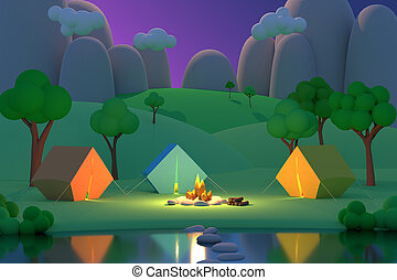 Summer camp in the forest in the night on a background of mountains. Colored tents around the fire. 3D render
