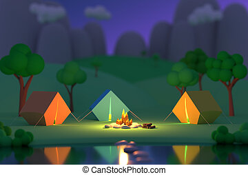 Summer camp in the forest in the night on a background of mountains. Colored tents around the fire. Defocus effect. 3D render