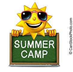 Summer Camp Message - Summer camp message on a school chalk...