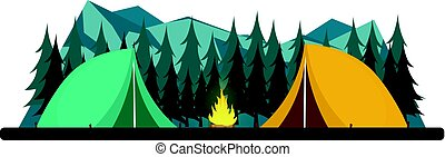 Summer camp. Night Camping. Campfire. Pine forest and rocky mountains. Starry night and moonlight. Nature landscape