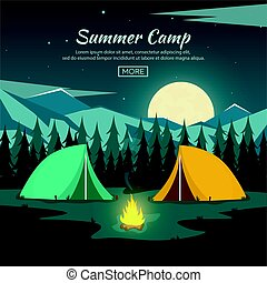 Summer camp. Night Camping. Campfire. Pine forest and rocky...