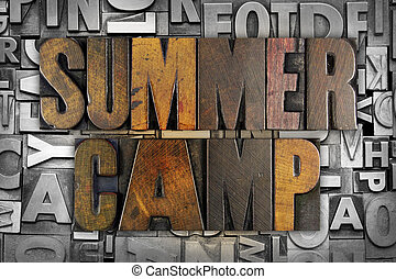 Summer Camp - The words SUMMER CAMP written in vintage...