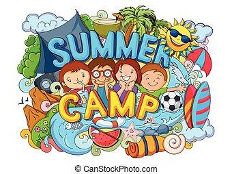Summer Camp poster - vector illustration of doodle of kids...