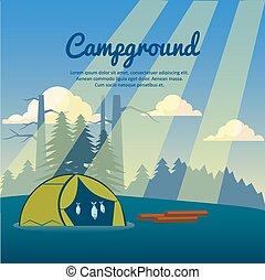 Summer camp poster. Vector illustration. - Summer camp...
