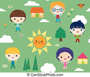 summer camp seamless pattern with happy little kids