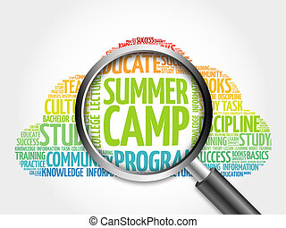 Summer Camp word cloud with magnifying glass, concept