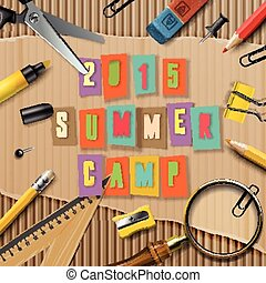 Summer Camp themed  poster, vector illustration.