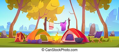 Summer camp with tent, campfire, trees, lake and mountains on background. Vector cartoon landscape of natural parkland, countryside. Picnic on river beach