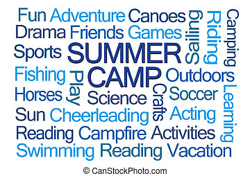 Summer Camp Word Cloud on White Background