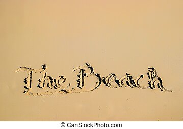 Summer camp written on sandy beach side