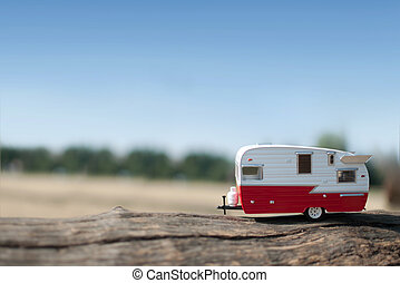 Camper van with views of the countryside