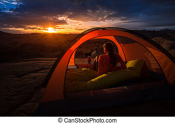 Summer Camping Beautiful Sunrise Lake Powell Reflection Canyon