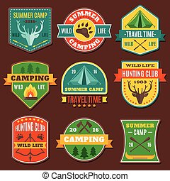 Summer Camping Colorful Emblems