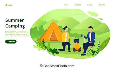 Summer camping concept with couple by a fire
