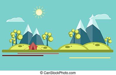 summer camping flat illustration