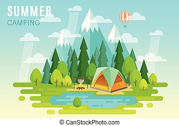 Summer Camping graphic poster.