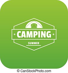 Summer camping icon green vector