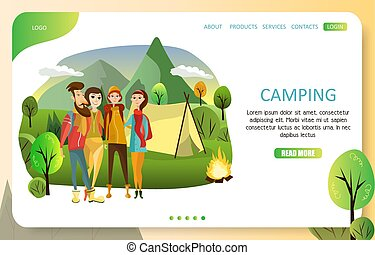 Summer camping landing page website vector template