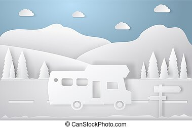 Summer camping paper cut style. Concept with car, road, track. Vector illustration