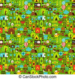 Summer Camping Seamless Pattern