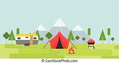 Summer camping tent, camper, barbecue and bonfire with forest mountain background in flat design