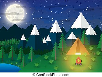 Summer Campsite with a campfire