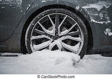 Summer Car Tire Stuck in Snow