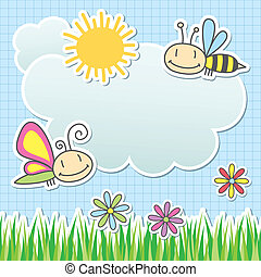 summer card - card with sun, cloud, butterfly and bee