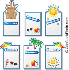 Summer card set with stickers