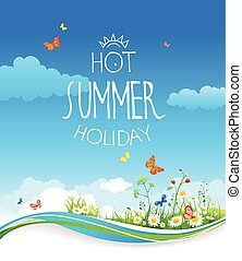 Summer card with blue sky and flowers