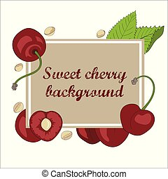 Summer card with cherry, cherry stone and leaves