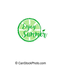 Summer card with hand drawn brush lettering. Summer background with calligraphic design elements, illustration. Summer holidays poster.