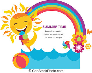 Summer Card With Happy Sun Colorful Rainbow And Flowers