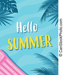 summer card with inflatable mattress, vector illustration