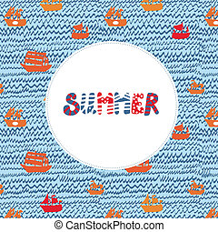 Summer card with sea and ships - funny holidays illustration