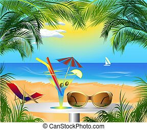 beautiful card with summer sea beach scenery and recreation