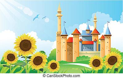 Summer Castle Background - cartoon illustration of castle at...