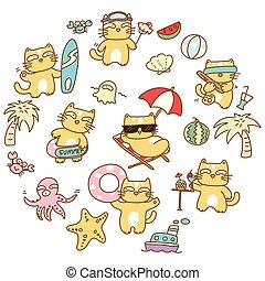 Summer cat illustration