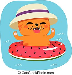 Summer Cat On Inflatable - Cute lovely cat with hat on...