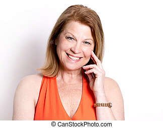 summer caucasian woman - middle aged woman wearing orange ...