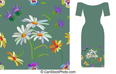 Summer chamomiles. Party dress design.